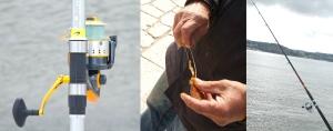 Carretos,anzois e canas são os obejectos principais para pescar