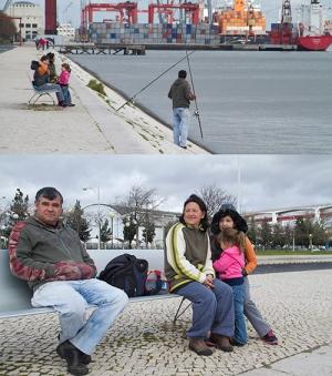Familia do pescador José Fernando numa manhã de pesca