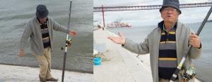 Pescador João Pestana Dias, grande amante da pesca, começa a montar as canas.