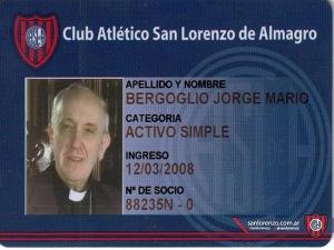 Cartão de sócio de Jorge Mario Bergoglio no San Lorenzo. (fonte: http://www.folha.uol.com.br/)